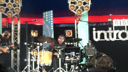 Todd Speakerman playing at Glastonbury's BBC Introducing Stage with his brother in their band Speake