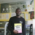 Riaz Phillips with his book at Pepper and Spice in Dalston. Picture: Riaz Phillips