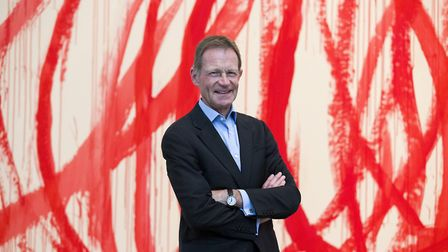 "Director of the Tate Sir Nicholas Serota in front of ""Untitled (Bacchus) 2006-2008, Acrylic on canva"