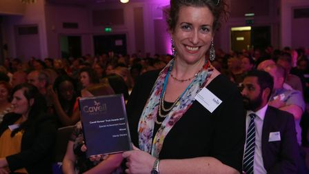 Mandy Stevens picks up her special achievement award from the Cavell Nurses� Trust