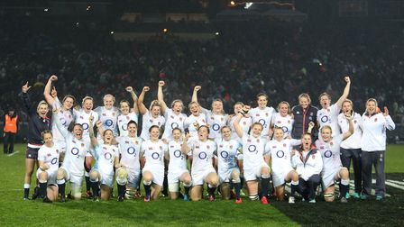 England celebrate their victory over New Zealand after the Rugby Super Series match at the Rotorua I