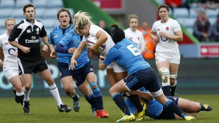 England's Vicky Fleetwood is tackled by Italy's Lucia Cammarano during the RBS Women's 6 Nations mat