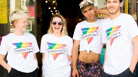 The Voodoo Ray's team in their T-shirts.