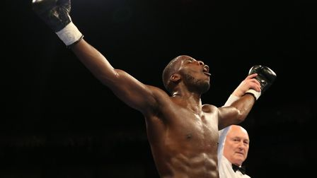 Lawrence Okolie celebrates his latest win (pic Natalie Mayhew/Butterfly Boxing)