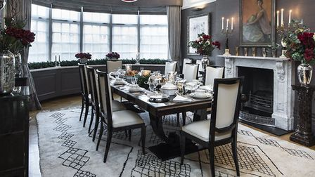 Dorsch's own dining room reveals her love for Edwardian proportions combined with ornate detailing f