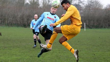 Action from the Lowestoft & District League Division Two clash between Bungay Town A and Waveney A