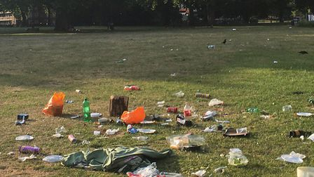 The mess left on London Fields at the weekend.