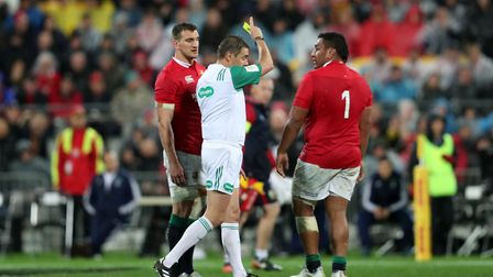 Saracens prop Mako Vunipola is sent to the sin bin for the British & Irish Lions against New Zealand