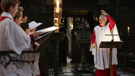 Stephen Cleobury conducts the King's College Choir. Picture: Kevin Leighton