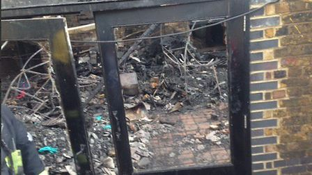 The charred scene within, from Laetitia Dupont, who was allowed up to see the damage to her stall wi