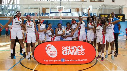 Haringey celebrate winning basketball gold at the London Youth Games (pic jgmoloney.com)