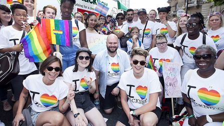 The Young Hackney LGBTQI+ youth group at the Pride march. Picture: Gary Manhine/ Hackney Council
