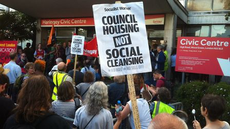 Protesters massed outside Haringey Civic Centre earlier this month as councillors pushed through the