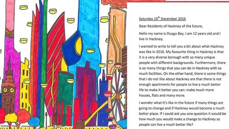 A letter and drawing from Duygu Bay at the Petchey Academy that was included in the capsule for read