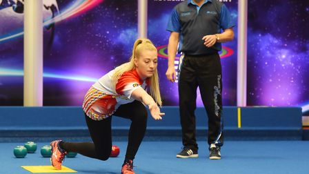 Amy Smith from the Lowestoft Journal and Eastern Daily Press learns to play bowls with world number