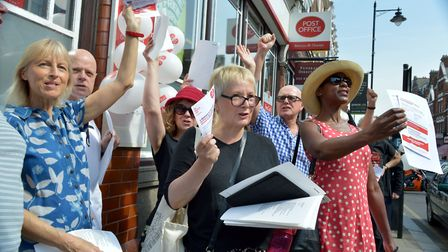 A Save the Post Office demonstration outside Crouch End Post Office in May last year. Picture: POLLY