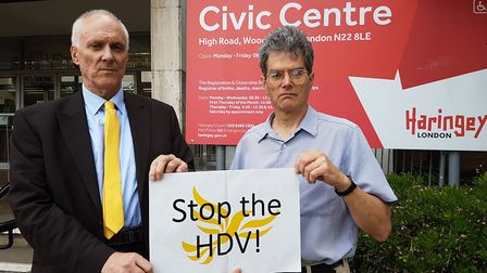 Councillor Clive Carter and Cllr Bob Hare after Haringey Council leaders met at the Civic Centre las