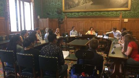 Students meet with Catherine West inside the Palace of Westminster. Picture: FRANKIE GRANT