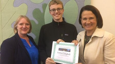 London deputy mayor Joanne McCartney AM, Fortismere School A level student Robbie Campbell and MP Ca