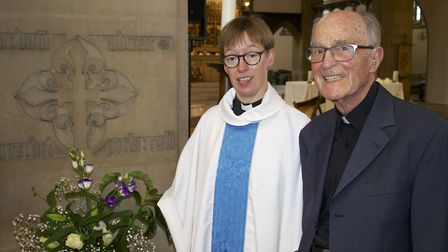 Rev Sue Makin with Rev Canon John Oates, founder of the 59 Club, at the 125th anniversary of St Mary
