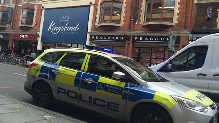 Police outside Kingsland Shopping Centre where the accident took place. Picture: Emma Bartholomew