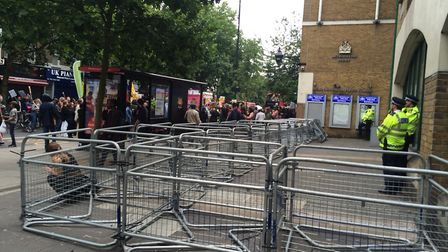 Barricades outside Stoke Newington police station. Picture: Emma Bartholomew