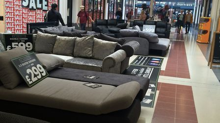 A display for a sofa company is a permanent feature in Kingsland Shopping Centre. Young people routi