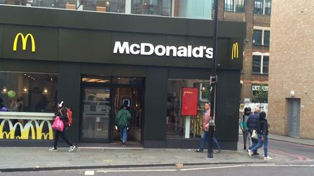 McDonald's in Kingsland High Street, pictured, has hired security guards to 'protect customers and s