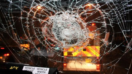 The smashed screen of a police riot van in Dalston last night. Picture: Zoah Hedges-Stocks