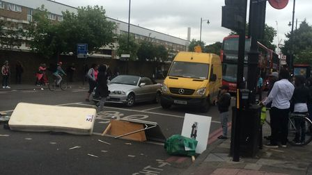 An impromptu road block outside Yours Locally in Dalston on Friday afternoon. Picture: Emma Bartholo