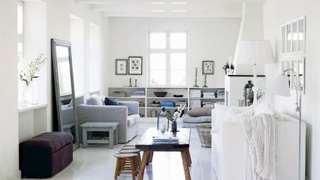 Chic white: Grey and white is a calm, soothing colour combination, and it doesn't have to feel cold