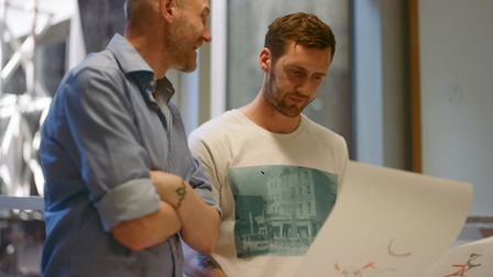 Artist David Tovey (left) with Charlie Wright. Picture: Rosie Matheson