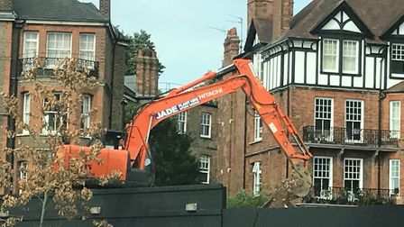 Building work has restarted on a development at Swain's lane, Highgate. Picture: EMILY BANKS