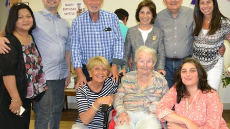 Myrtle, centre, celebrates her 100th birthday at the heart of her family.