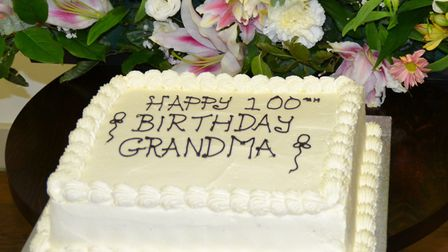 Myrtle's birthday cake for her many friends and guests.