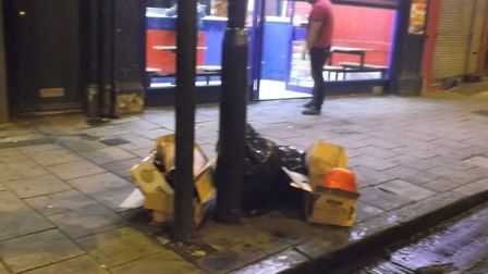 Fly tipping outside Carolina Pizza. Picture: Hackney Council
