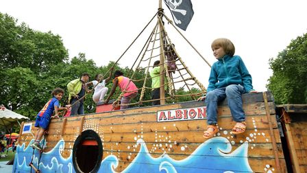 Children play on the Albion Kids Show pirate ship in Millfields Park. Picture: Polly Hancock