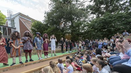 Year 6 students performing 'Joseph' on the new Highgate Primary School stage. Credit: S Saunders/Dig
