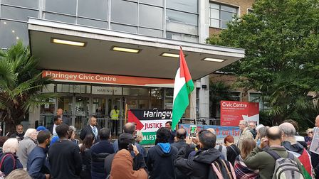 Protesters gathered outside Haringey Civic Centre on Monday before the council voted to adopt a defi