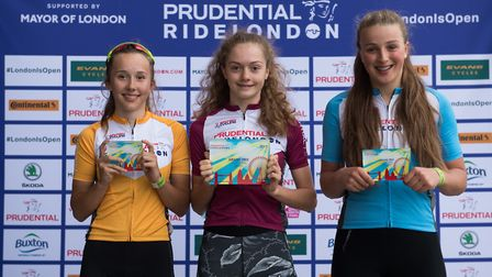 Haringey's Kate Wootton (centre) won the girls race the Prudential Ride London event (pic Prudential
