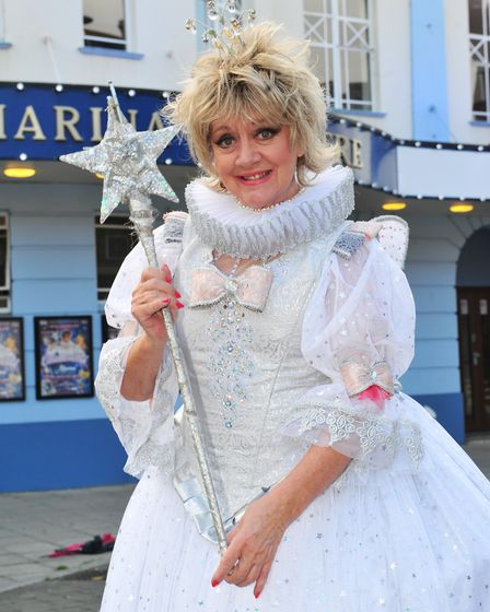 Amanda Barrie dressed as the Fairy Godmother in the Marina Theatre's Cinderella pantomime in 2013. P