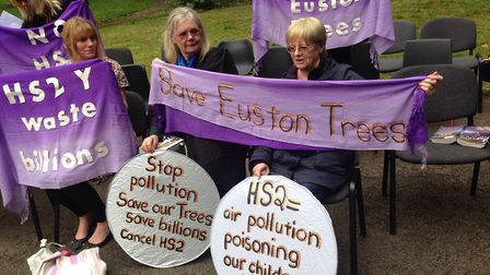 Campaigners attempt to save trees in and around Euston Picture: @stopHS2