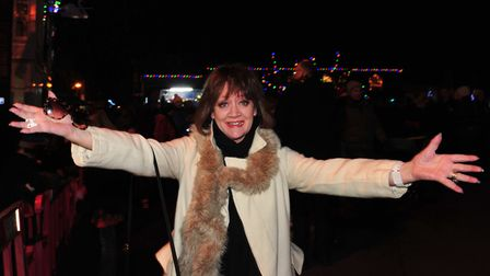 Amanda Barrie at the Southwold Christmas lights switch on in 2013. Picture: Nick Butcher.