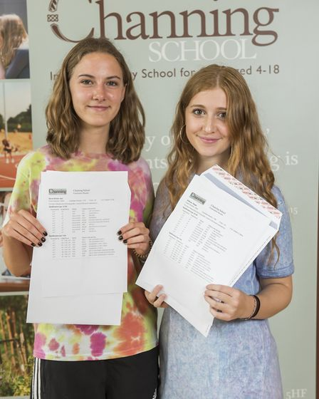 Pupils Amy and Megan were awarded A*s and A grades in all their subjects. Picture: Channing