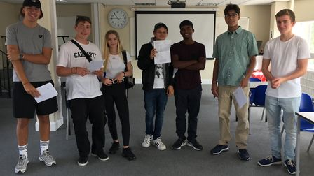 Portland Place School students with their GCSE results. Credit: Portland Place School