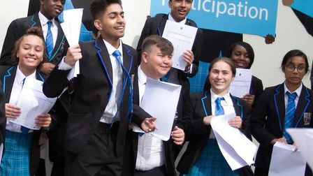 Students at Petchey Academy collecting their GCSE results.