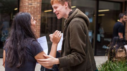 Students at Stoke Newington School collecting their GCSE results. Credit: Victoria Hargreaves