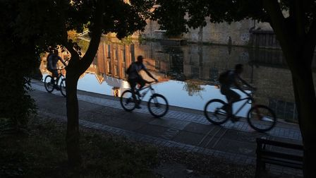 'Cycling west on the Regent�'s Canal, such an important recreational asset to the borough and a comp