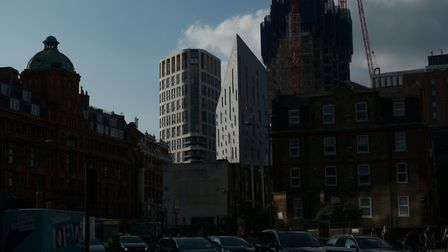 'Radical new developments on the western edge of Hackney just north of Old Street roundabout.' Pictu