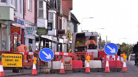 The gas mains work on Bridge Road, Oulton Broad. PHOTO: Nick Butcher